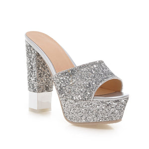 Sexy Sequin Sandals Women Pumps Platform High-heeled Shoes Woman