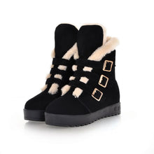 Load image into Gallery viewer, Fur Snow Boots with Platform Wedges Buckle Women Shoes