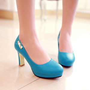 Rhinestone Women Platform Pumps Soft Leather High Heels Shoes Woman