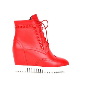 Studded Wedges Boots Lace Up Platform Shoes Fall|Winter 3326