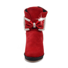 Load image into Gallery viewer, Rhinestone and Bow Wedges Boots Women Shoes Fall|Winter 1497