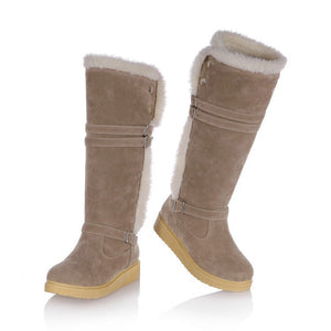 Buckle Women Knee High Boots Platform Wedges Lamb Wool Snow Boots Winter Shoes Woman 2016 3479