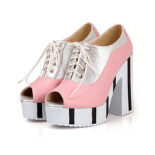 Load image into Gallery viewer, Lace UP Platform Sandals Women Chunky Heel Pumps Peep Toes High Heels Shoes Woman