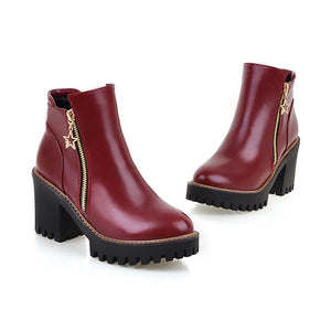 Round Toe Zipper High Heels Ankle Boots Thick Heel Women Shoes 76065956