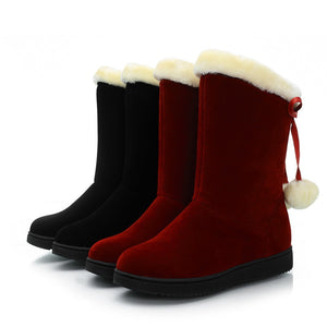 Ball Snow Boots Winter Black Red Shoes Woman 3281 3281