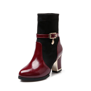 Patchwork Ankle Boots Buckle Platform Boots High Heels Shoes Woman