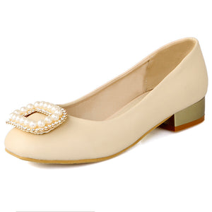 Pearl Women Pumps Round Toe Shallow Low Heeled Shoes Woman 3397