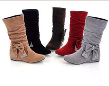 Load image into Gallery viewer, Artificial Suede Mid Calf Boots Shoes Woman Bowtie Rhinestone Wedges Women Boots 3344