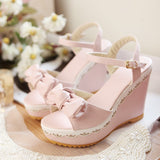 Bowtie Ankle Straps Platform Sandals Women Wedges High Heels Shoes Woman