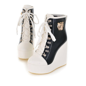 Metal Decoration Lace Up Platform Wedges Ankle Boots 2905