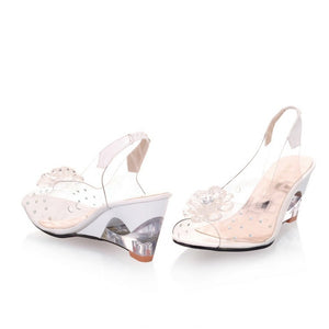 Bohemia Style Flower Rhinestone Peep Toe Wedge Sandals 6399