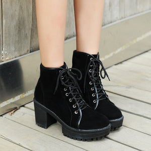Women Ankle Boots Platform Lace Up High Heels Shoes Woman 2016 3491