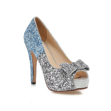 Load image into Gallery viewer, Glitter Women Pumps Platform Peep Toes High Heels Spike Bridal Shoes Woman