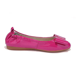Bowtie Women Flats Patent Leather Ballet Shoes