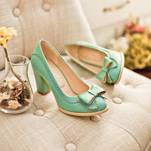 Bow Pumps High Heels Laciness Platform Shoes Woman