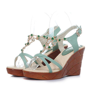 Beads Platform Sandals Buckle Women Wedges Shoes Woman