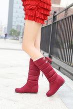 Load image into Gallery viewer, Warm Fur Lining Knot Mid Calf Snow Boots Wedge Heel 1636