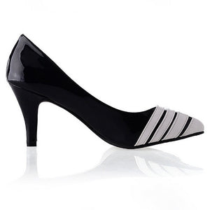 Women High Heels Shoes Pointed Toe Pumps Black White 9877