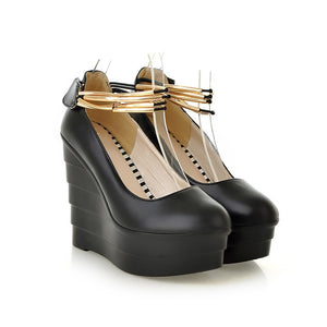Women Wedges Pu Leather Ankle Straps Chains High Heels Platform Shoes 3527