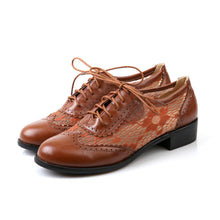 Load image into Gallery viewer, Hollow Out Lace Lace Up Women Low Heeled Oxfords Shoes 9194