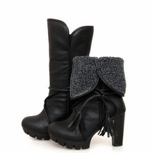 Load image into Gallery viewer, Tassel Ankle Boots Winter Fur Collar High Heels Platform Women Shoes