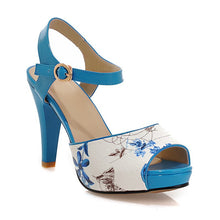 Load image into Gallery viewer, Floral Platform Sandals Ankle Straps Women Pumps High Heels Shoes Woman
