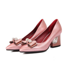 Load image into Gallery viewer, Pointed Toe Rhinestone Bow Chunky Heel Pumps Bridal Shoes 4351