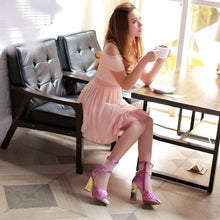 Load image into Gallery viewer, Mesh Platform Sandals Party Women Pumps High Heels Zipper Shoes Woman