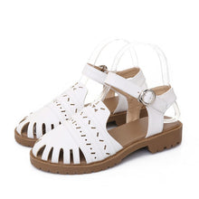 Load image into Gallery viewer, Ankle Straps Sandals Women Cutout Buckle Flats Shoes Woman Pink Beige White 3543