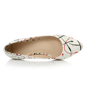 Pointed Toe Women Flats Printed Ballet Shoes