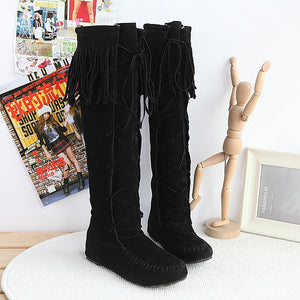 Tassel Faux Suede Flats Knee High Boots Women 8180
