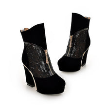 Load image into Gallery viewer, Black Gladiator Boots Platform Lace High Heels Shoes Woman