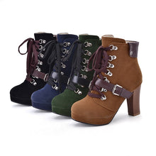 Load image into Gallery viewer, Round Toe Lace Up Buckle Platform Ankle Boots High Heels 7755