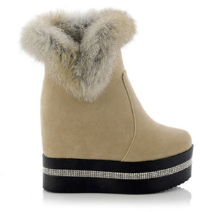 Rabbit Fur Wedges Snow Boots High Heels Platform Shoes Woman
