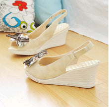 Load image into Gallery viewer, Knot Wedges Platform Sandals Women Peep Toes Shoes Woman