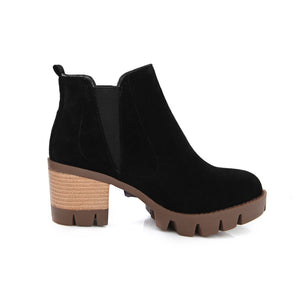 Women Ankle Boots Artificial Suede Platform High Heels Shoes Woman 7584