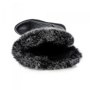 Rabbit Fur Snow Boots Zipper Winter Women Shoes