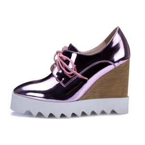 Women Wedges Patent Leather Lace Up High Heels Pumps Platform Shoes 1149