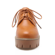 Load image into Gallery viewer, Round Toe Lace Up Pumps High Heels Pu Leather Platform Shoes Woman