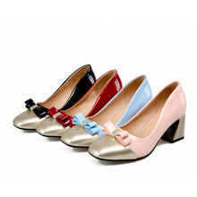 Load image into Gallery viewer, Knot Women Pumps Square Toe Patent Leather High Heels Shoes Woman