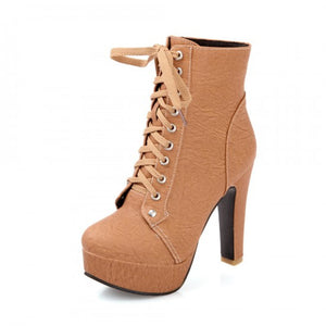 Lace Up Women Ankle Boots Platform High Heels Shoes Woman 2016 3392