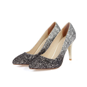 Pointed Toe Glitter High Heels Women Pumps Stiletto Heel Wedding Shoes 2210
