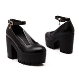 Buckle Ankle Straps Chunky Heel Pumps Platform High Heels Women Shoes 9070