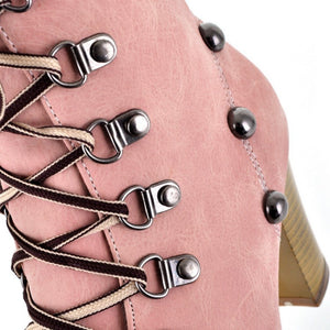 Studded High Heels Ankle Boots Chunky Heel Shoes 9132