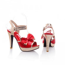 Load image into Gallery viewer, Platform Sandals Women Pumps Ankle Straps Bowtie High Heels Shoes Woman 3450