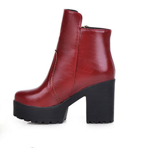 Ankle Boots Side Zipper High Heels Women Shoes