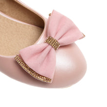 Load image into Gallery viewer, Round Toe Bow Women Flats Shoes Plus Size