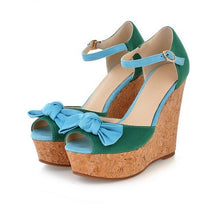 Load image into Gallery viewer, Bowtie Platform Sandals Ankle Straps Wedges Women Pumps High Heels Shoes Woman