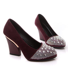 Load image into Gallery viewer, Rhinestone Women Pumps High Heels Thick Heeled Artificial Suede Shoes Woman