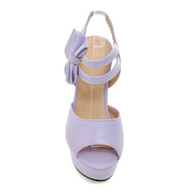 Load image into Gallery viewer, Women Sandals Peep Toes Pumps Platform with Bowtie High-heeled Shoes